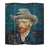 Fine Asianliving Paravento Divisori in Tela 4 Pannelli L160xA180cm Van Gogh Autoritratti