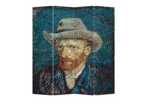 Fine Asianliving Paravent en Toile L160xH180cm 4 Panneaux Van Gogh Portrait