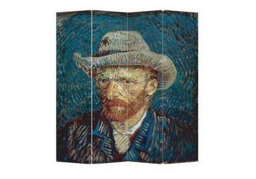 Fine Asianliving Paravento Divisori in Tela L160xA180cm 4 Pannelli Van Gogh Autoritratti