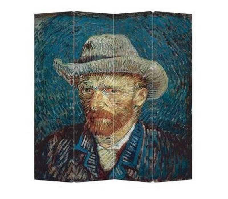 Biombo Separador de Lienzo A160xA180cm 4 Paneles Van Gogh Autorretrato