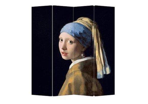 Fine Asianliving Kamerscherm Scheidingswand B160xH180cm 4 Panelen Vermeer Meisje met de Parel
