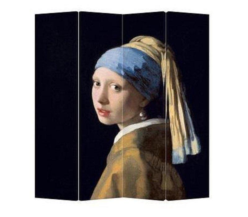 Paravento L160xH180cm Divisori Tela 4 Pannelli Pieghevole Separatore Vermeer