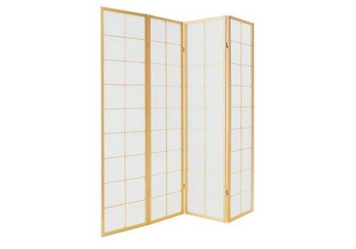 Fine Asianliving Biombo Separador Japonés A180xA180cm 4 Paneles Shoji Papel de Arroz Natural