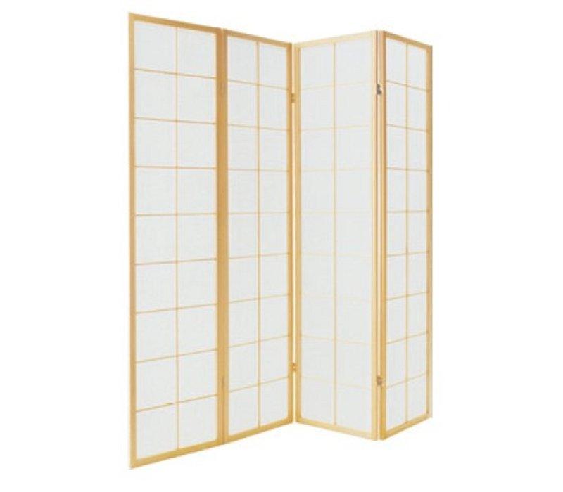 Japanse Kamerscherm B180xH180cm 4 Panelen Shoji Rijstpapier Naturel