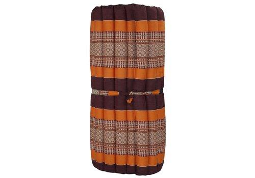 Fine Asianliving Matelas Thaï Enroulable en Coton et Kapok - 78x190cm - Rouge Orange