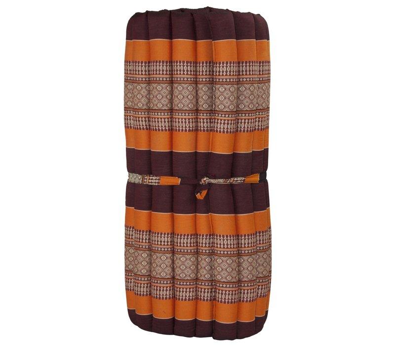 Thaise Mat Oprolbaar Matras 190x78x4.5cm Bordeaux Oranje