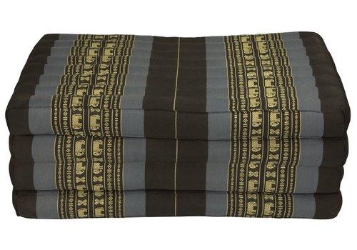 Fine Asianliving Thai Cushion Matress 4-folded 80x200cm Mat Cushion XXXL Black Elephants