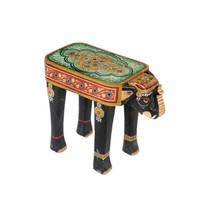 Wooden Stool Elephant Handpainted 26x58x47cm Handmade in India