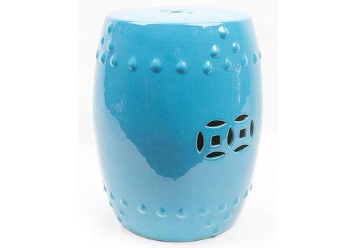 Fine Asianliving Keramik Hocker Gartenhocker Porzellan Asiatischer Stil Blau
