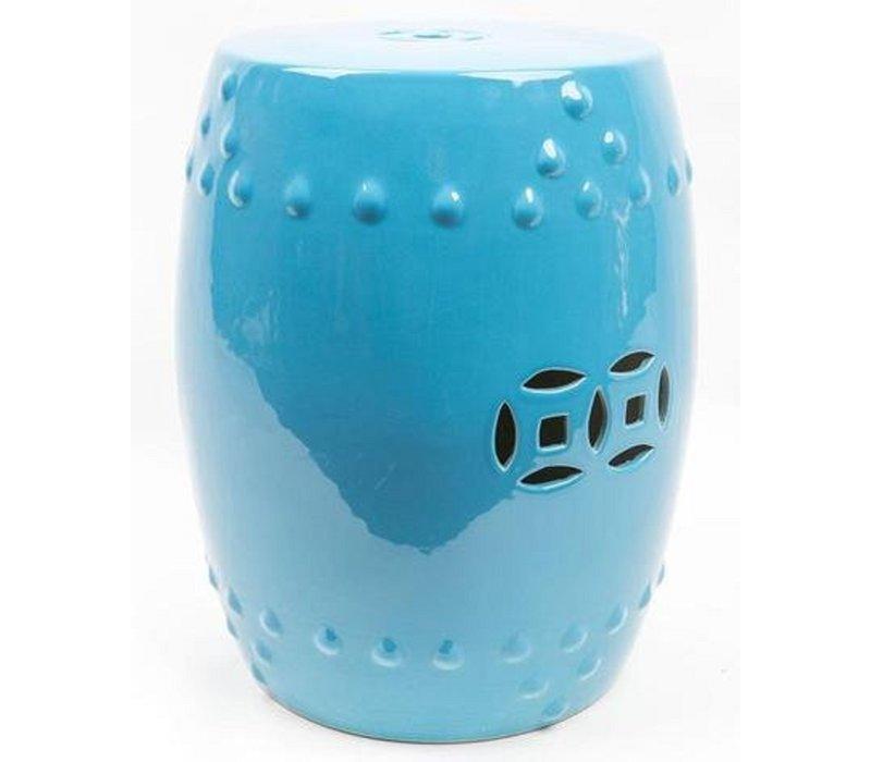 Keramische Kruk Porselein Stoel B33xH45cm Blauw