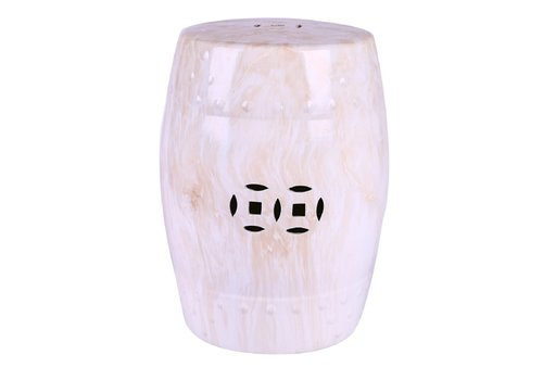 Fine Asianliving Keramik Hocker Gartenhocker Porzellan Marmor B33xH45cm