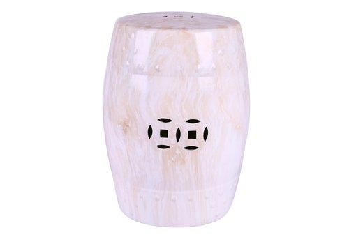 Fine Asianliving Sgabello in Ceramica Cinese Modello di Marmo B33xA45cm