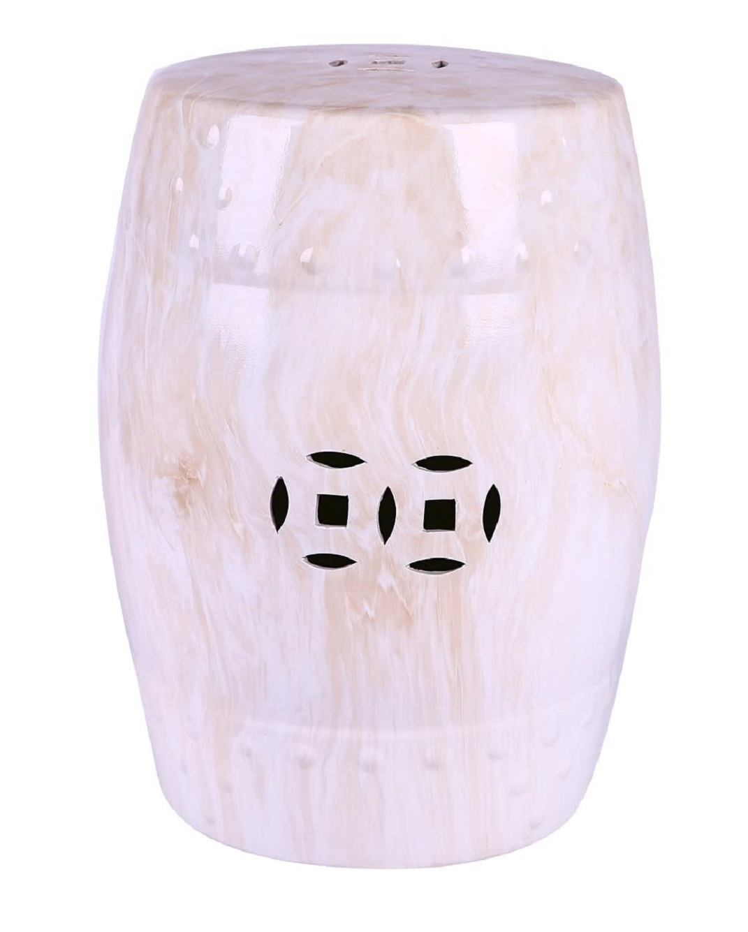 Ceramic Garden Stool Marble Porcelain B33xh45cm Orientique Asianliving