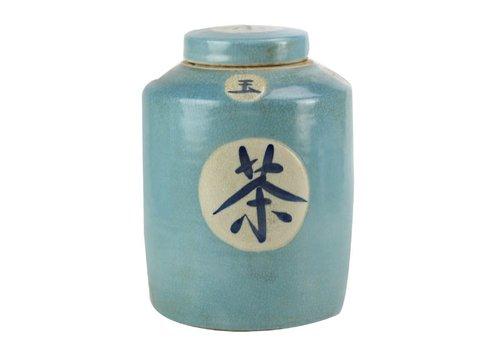 Fine Asianliving Pot à Gingembre Chinois «Thé» Bleu Peint à la Main L12xH28cm