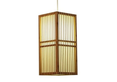 Fine Asianliving Lámpara de Techo Japonés de Madera y Papel de Arroz Natural - Kobe - Anch.17 x Prof.17 x Alt.37 cm
