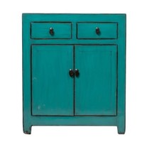 Antique Chinese Cabinet Glossy Turquoise W78xD38xH95cm