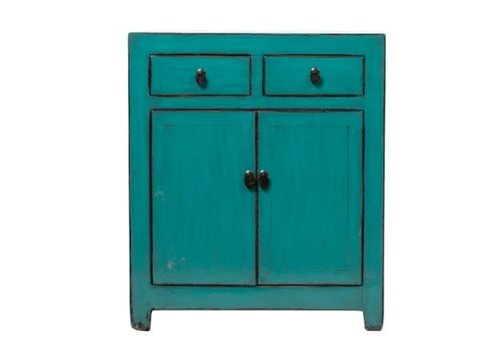 Fine Asianliving Antique Chinese Cabinet Glossy Turquoise W78xD38xH95cm