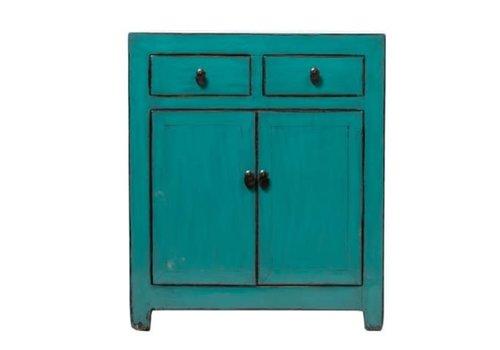 Fine Asianliving Armoire Chinoise Antique Turquoise L78xP38xH95cm