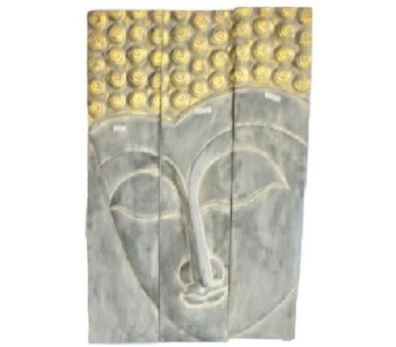 Thaise Buddha Paneel Handgemaakt Van Stevige Boomstam L120xH180cm