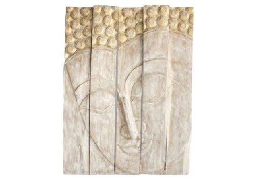 Fine Asianliving Décoration Murale Panneau de Bouddha en Bois Fait Main en Thaïlande L150xH200cm