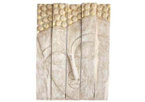 Fine Asianliving Thai Buddha Panel Handmade from Solid Tree Trunk L150xH200cm