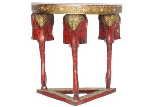 Fine Asianliving Thai Elephant Table Handmade from Solid Tree Trunk W80xD60xH100cm