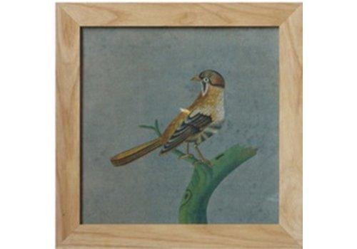 Fine Asianliving Chinees Schilderij met Lijst Vogel op Tak B42xH42cm