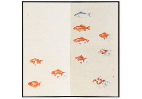 Fine Asianliving Paravent Raumteiler Trennwand 2-teilig Orange Fische