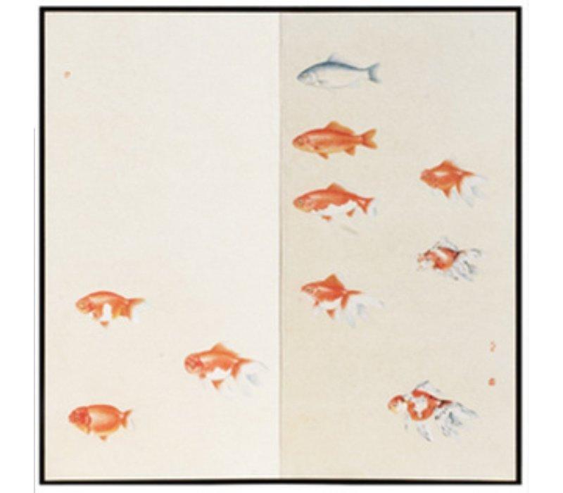 Chinese Room Divider Orange Fish 2 Panels