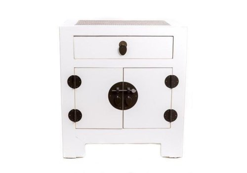 Fine Asianliving Chinese Bedside Table with Handbraided Bamboo White