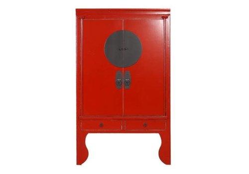 Fine Asianliving Armoire de Mariage Chinoise Antique Rouge L100xP55xH190cm