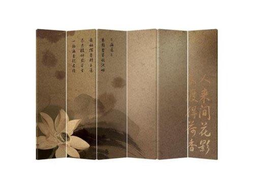 Fine Asianliving Biombo Separador de Lienzo 6 Paneles Flor China Anch.240 x Alt.180 cm