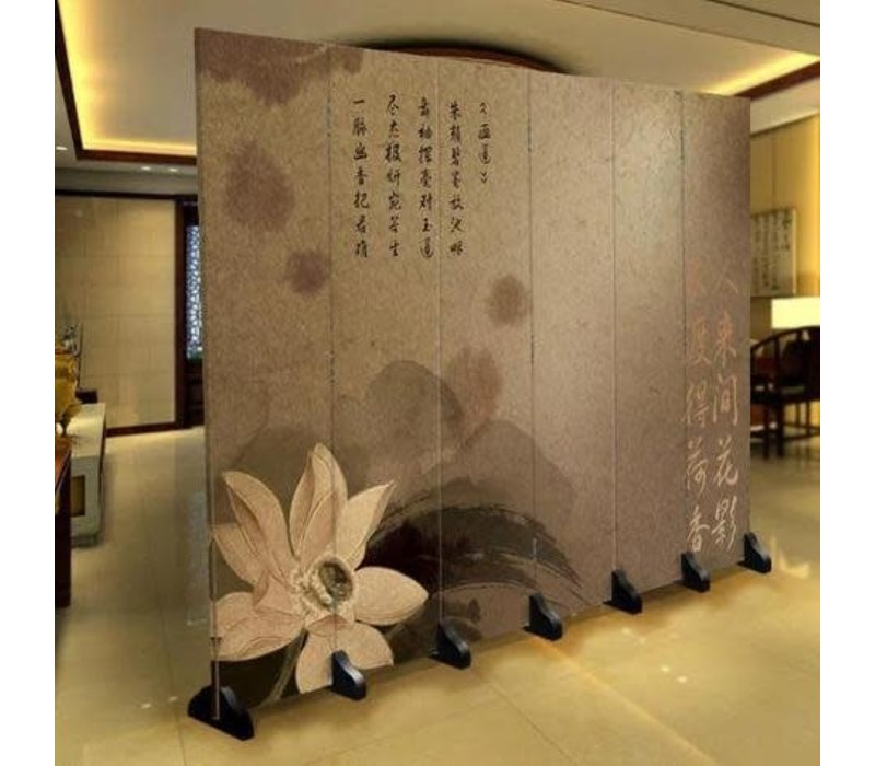 Biombo Separador de Lienzo 6 Paneles Flor China Anch.240 x Alt.180 cm