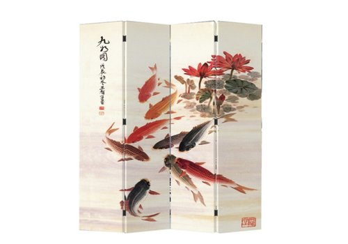 Fine Asianliving Chinese Oriental Room Divider Folding Privacy Screen 4 Panels W160xH180cm Nine Koi Fishes