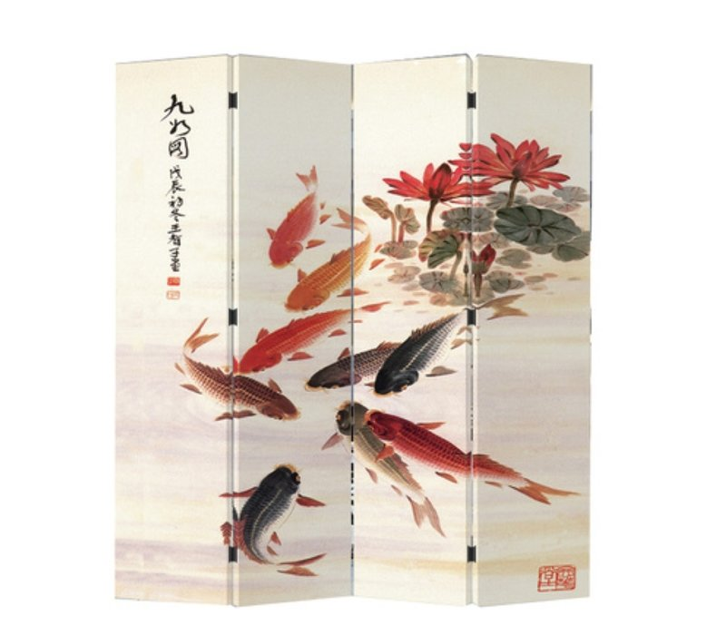 Chinese Oriental Room Divider Folding Privacy Screen 4 Panels W160xH180cm Nine Koi Fishes