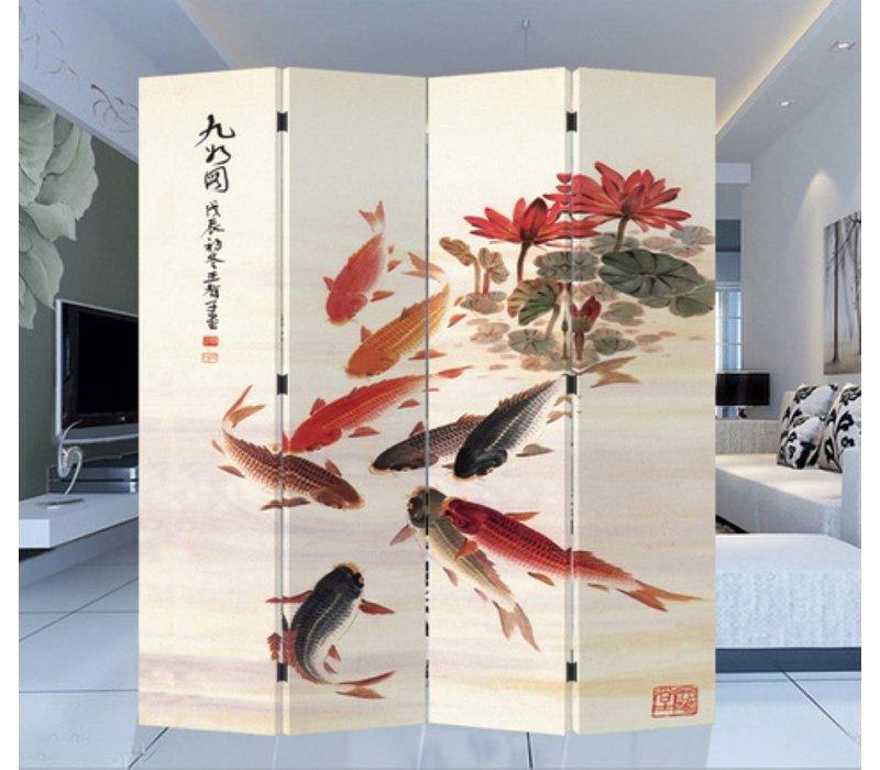 Paravento Divisori in Tela Cinese L160xA180cm 4 Pannelli Stagno di Carpa Koi