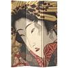 Fine Asianliving Biombo Separador de Lienzo Japonés A120xA180cm 3 Paneles Geisha Japonesa