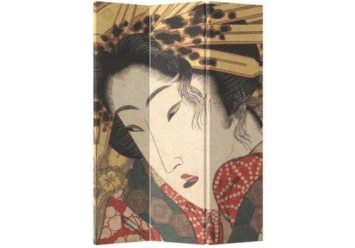 Fine Asianliving Paravento Divisori in Tela Giapponese L120xA180cm 3 Pannelli Geisha