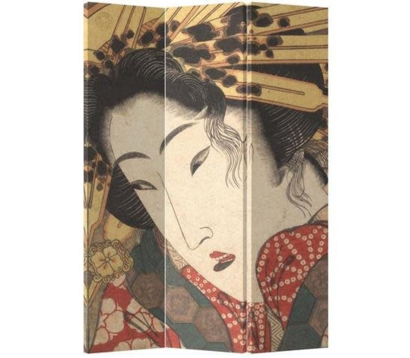 Biombo Separador de Lienzo Japonés A120xA180cm 3 Paneles Geisha Japonesa