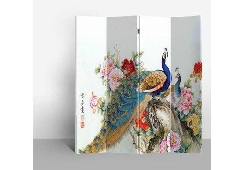 Fine Asianliving Biombo Separador de Lienzo Chino A160xA180cm 4 Paneles Dos Pavos Reales