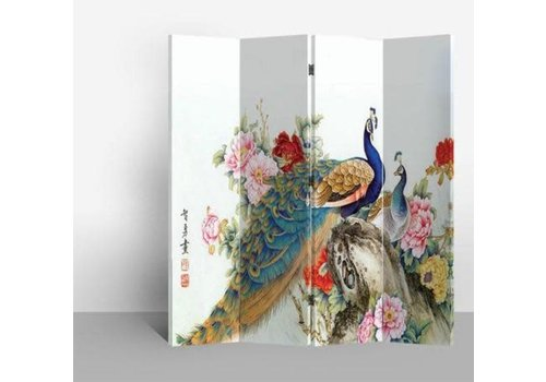 Fine Asianliving Chinese Oriental Room Divider Folding Privacy Screen 4 Panel Two Peacocks W160xH180cm