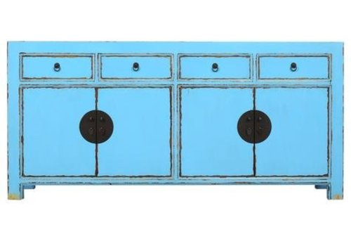 Fine Asianliving Chinesisches Sideboard Kommode Himmelblau B180xT40xH85cm