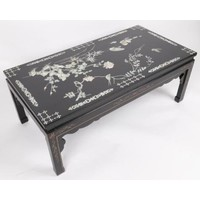 Chinese Coffee Table with real Mother-of-Pearl and Hand-painted