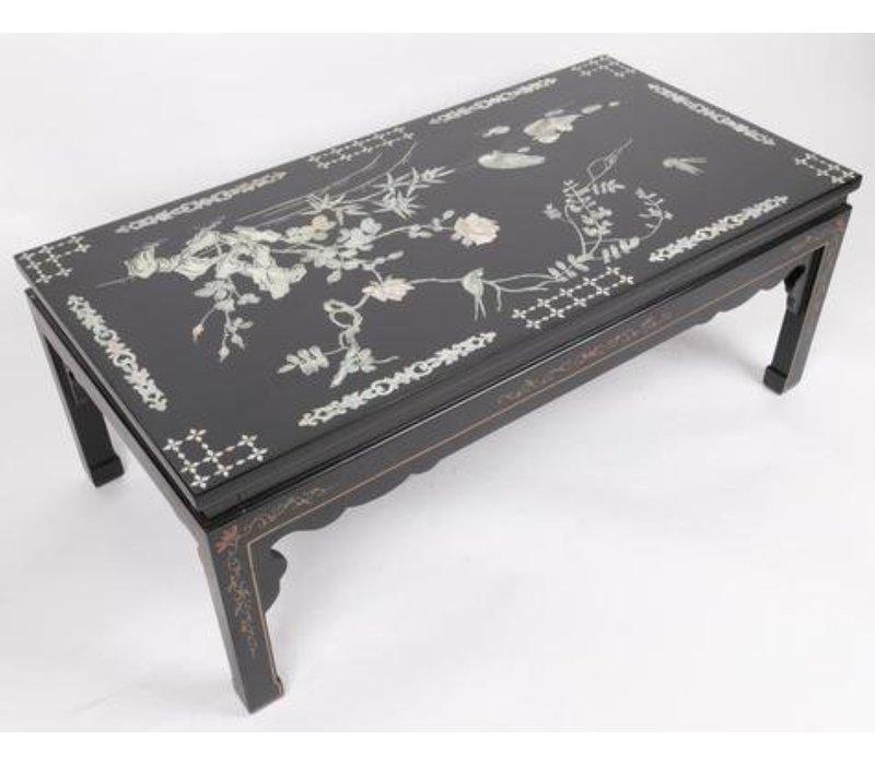 Chinese Salontafel met echt Parelmoer en Handschilderingen