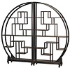 Fine Asianliving Chinese Bookcase Round Open Cabinet Black L176xH192cm