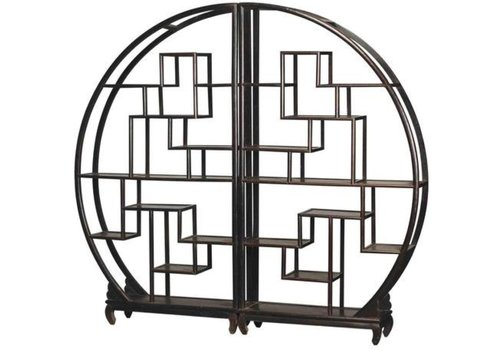 Fine Asianliving Chinese Bookcase Round Open Cabinet Black W176xH192cm