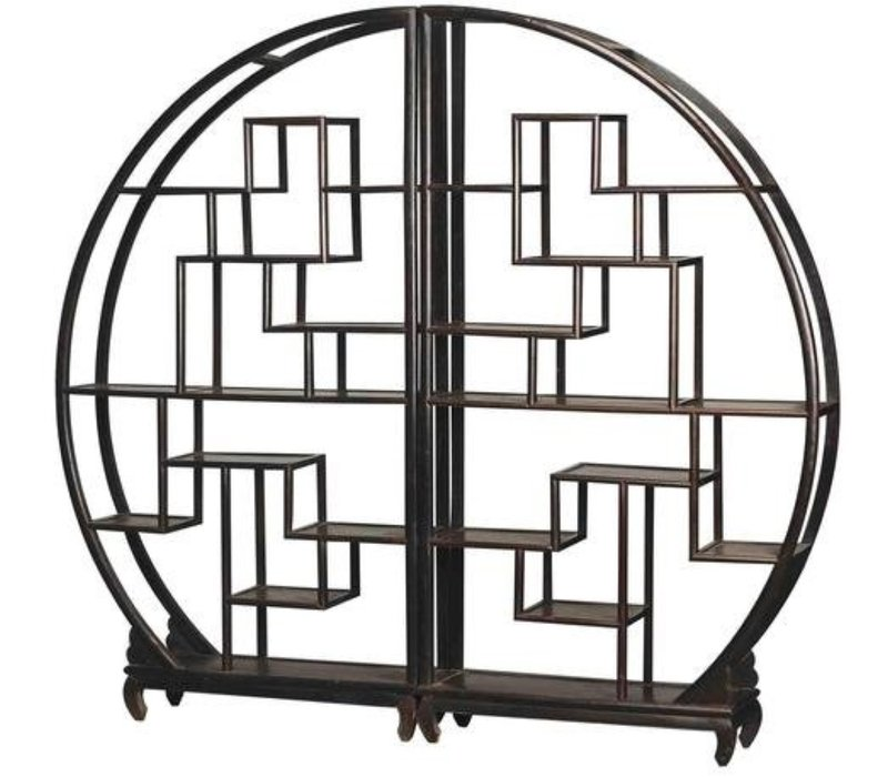 Chinese Bookcase Round Open Cabinet Black L176xH192cm