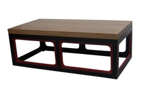 Fine Asianliving Chinese Coffee Table Solid Wood Black & Wine Red W130xD65xH45cm
