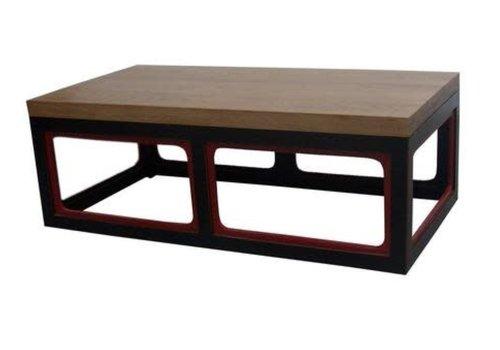 Fine Asianliving Table Basse Chinoise en Bois Noire et Rouge L130xP65xH45cm