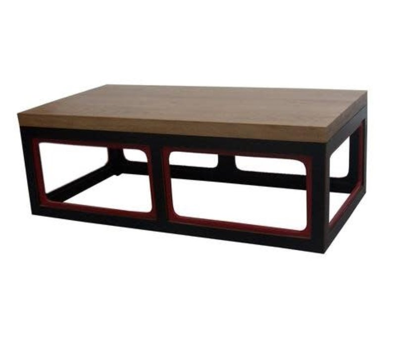 Chinese Coffee Table Solid Wood Black & Wine Red W130xD65xH45cm